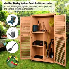 "TITIMO 63"" Outdoor Garden Storage Shed - Wooden Shutter Design Fir Wood Storage Organizers - Patios Tool Storage Cabinet Lockers for Tools -- (paid link) For more information, visit image link."