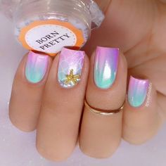 💅Pretty mermaid unicorn nails with gradient base! 😍Manicured by @sofinailstv. ❤ Welcome to my bio! 😍⭐✨✨