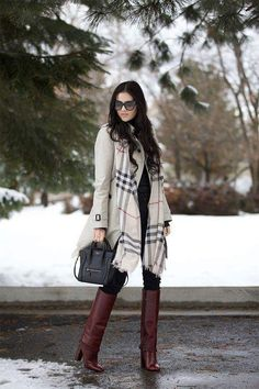 Rock The Winter With Overcoat And Checked Scarf