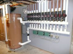 radiant floor cooling | Piping for a water to water geothermal system with radiant floor ...