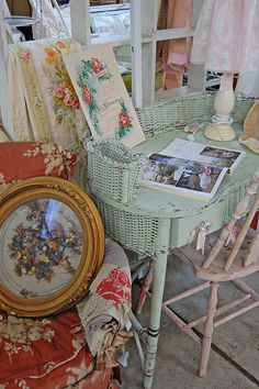 Shabby vintage goodness..love the desk and old printed sheets