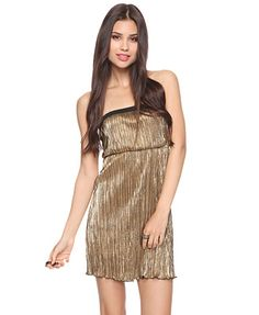 Bachelorette Party in C-Tweezy! Gold strapless party dress