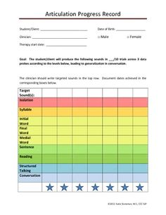 Free! Easily track progress on articulation goals toward mastery/generalization.  Parents and teachers can easily see progress in a visual.  Color coded....