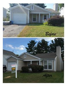 Paint white trim, power wash siding, landscaping House in Ohio