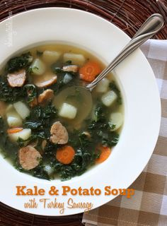 Kale and Potato Soup with Turkey Sausage -  It's a meal in a bowl and kale is one of the healthiest vegetables around, high in vitamins K, A and C with both antioxidant and anti-inflammatory benefits. #weightwatchers