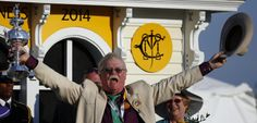 Co-owner Steven Coburn celebrates in the winner's circle after California Chrome won the Preakness Stakes horse race at Pimlico Race Course, Saturday, May in Baltimore. Preakness Stakes, Horse Racing, Baltimore, Chrome, California, Horses, Trainers, Champs, Training