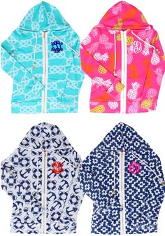 Add a touch of whimsy to your wardrobe with our Monogrammed Hoodies! Perfect for pairing with your favorite shorts or jeans, these monogrammed jackets come in four great patterns! #preppy #pink #navy #nautical #navy #hoodie #cute #ML