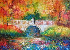 Items similar to Autumn wedding Oil painting Princess bride Fall park Impressionist art Pointillism Newlywed gift Rustic decor Nature landscape Wall print on Etsy Impressionist Art, Impressionism, Texture Water, Autumn Park, Princess Wedding, Autumn Wedding, Landscape Art, Art Prints, Wall Art