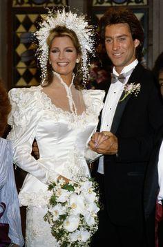 The 7 Most Memorable Modern Days of Our Lives Wedding Dresses | Glamour Wedding Movies, Wedding Pics, Wedding Day, Wedding Stuff, Old Fashioned Wedding, Deidre Hall, Beautiful Wedding Gowns, Glamour, Wedding Headband