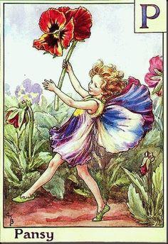 Маленькая фея танцует, держа в руке анютины глазки, Pansy / Анютины глазки, художник Cicely Mary Barker / Сесиль Мэри Баркер