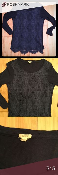 J. Crew Lace Front Tee Navy blue lace front tee with three quarter length sleeves. 100% cotton excluding trim. Fits like a true XS, not a S. Lace front is fully lined. J. Crew Tops Tees - Long Sleeve
