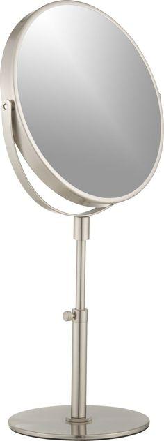 H Surround Light Adjustable Pedestal Vanity Mirror In Chrome Grey