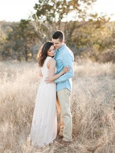 The perfect engagement session outfits! Long, flowy dress for her & neutrals for him!