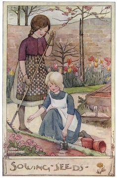 'Sowing Seeds'. Anne Anderson illustration scanned from 'The Gillyflower Garden Book', c1915.