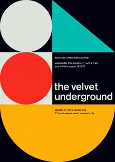 The Velvet Underground at Max's Kansas City, New York City Reimagined concert poster by designer Mike Joyce for his Swissted project, fusing rock music & swiss modernist design. The Velvet Underground, Rock Posters, Band Posters, Music Posters, Shape Posters, Graphic Posters, Retro Posters, Rock Design, Web Design