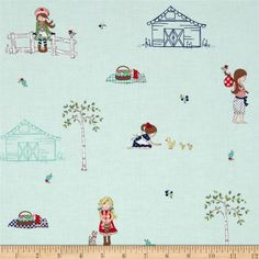 Riley Blake Country Girls Country Scene Aqua from @fabricdotcom  Designed by Tasha Noel for Riley Blake Designs, this fabric is perfect for quilting, apparel and home decor accents. Colors include red, lime, navy, yellow, white and aqua.