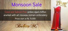 Babita M's bridal anarkali range starts at just Rs. 15,000 during the sale.