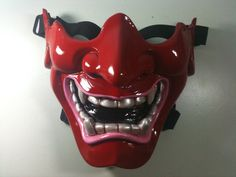 Love this a mask you can wear your glasses with!  Red Kabuki Warrior Paintball mask / Prop Mask by diyproduct, $45.00