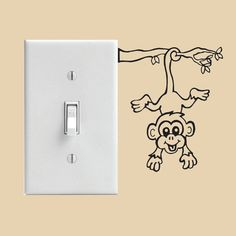 Monkey Light Switch Decal or Wall Decal by SteeleInspired on Etsy