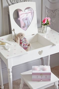 Buy beautiful kids' dressing tables and stools with free returns! Choose from children's vanity tables, dressing up rails, clothes hangers and more. Little Girls Dressing Table, Kids Dressing Table, Toddler Vanity, Childrens Vanity, Little Girl Vanity, Girls Vanity, Little Girl Bedrooms, Girls Bedroom, Bedroom Decor