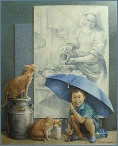 Kai Fine Art is an art website, shows painting and illustration works all over the world. Art And Illustration, Local Painters, Figurative Kunst, Image Nature, Images Vintage, Spanish Artists, Fine Art, Various Artists, Cat Art