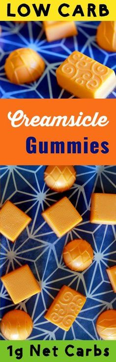 This tasty low carb Jello dessert candy has only 1g net carb per serving. These orange Creamsicle gummies are Atkins, Banting, THM, LCHF, Keto, Sugar Free and Gluten Free compliant.  They are also very popular with little humans.  #Lowcarb #lowcarbdiet #keto #ketogenic #LCHF #diet #best #glutenfree #sugarfree #healthy #jello