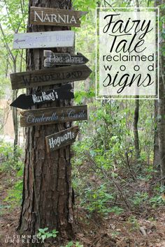 Adorable. <3 these! Also, with real destinations, these would be perfect for LARPs, burns, glamping and any event where you need onsite directions. - Fairy tale reclaimed wood signs