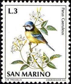 ◇San Marino 1972 Blue Tit (Parus caeruleus)