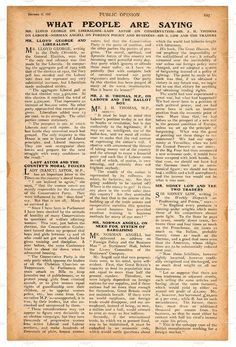 Newspaper page with english text. Vintage magazine from 1923 Please look here for more antique and vintage goods: More handwritings, paper textures and