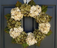 Gorgeous Green & Cream Hydrangea Wreath - Spring Wreaths - Summer Wreath - Veranda Decoration - Portico by HomeHearthGarden on Etsy https://www.etsy.com/listing/184116546/gorgeous-green-cream-hydrangea-wreath