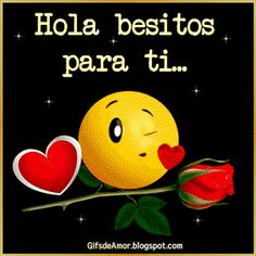 gifs hola besitos Emoji Pictures, Romantic Love, Kisses, Romanticism, Best Good Night Quotes, Good Night Greetings, Emoji Emoticons, Emoticon Love, Sevilla Spain