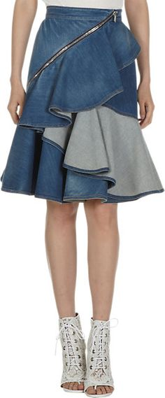 Givenchy Long Ruffled Denim Skirt - Knee Length - Barneys.com