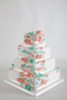 coral and teal wedding cakes | Coral and teal wedding cake! I think I'm liking these colors. | cakes