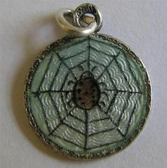 RARE ANTIQUE ART NOUVEAU GERMAN 800 SILVER GUILLOCHE ENAMEL SPIDER IN WEB CHARM