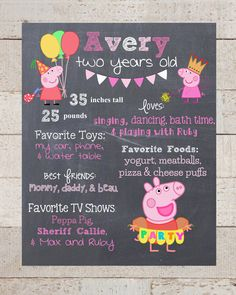 First Birthday Chalkboard- Custom First Birthday Sign-Peppa Pig- Chalkboard Stats-Custom Digital File-Birthday Party-Birthday by xHarpersHalosx on Etsy