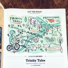 by boygirlparty on instagram: http://ift.tt/2dYtdb8 -- I illustrated this map of #fortworth for @texashighways magazine!  Fort Worth has some crazy awesome bike trails & it was a lot of fun making this map celebrating #trinitytrails and their public bike program. find more of my illustrations on my site at boygirlparty.com  #susieghahremani #texashighways #illustration #illustratorsofinstagram #mapillustration #illustratedmap #map #ftworth #ftworthtx #ftw #dfw #fortworthinsta #fortworthart…