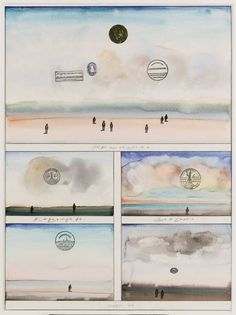 Five Sunsets ~ Saul Steinberg| From a unique collection of drawings and watercolor paintings at https://www.1stdibs.com/art/drawings-watercolor-paintings/