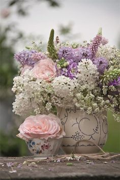 sage and blush and shabby chic floral arrangements | flowers in vintage vases and pitchers, so perfect for shabby chic ...