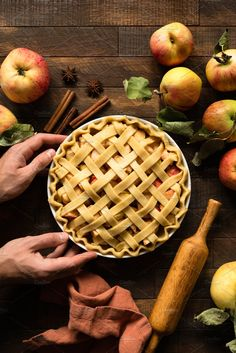 Ad: Homemade apple pie by The baking man on Homemade apple pie with pastry lattice on a rustic wooden table background. Rustic Food Photography, Amazing Food Photography, Photography Ideas, American Apple Pie, Best Pie, Pie Tops, Homemade Apple Pies, Cook At Home, Winter Food