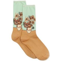 Hot Sox Women's Trouser with Artist Print Socks ($8) ❤ liked on Polyvore featuring intimates, hosiery, socks, accessories, socks and tights, fillers, mint sunflowers, mint green socks, pattern socks and mint socks