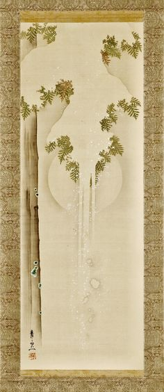 Snow on Cypress: Full Moon. Suzuki Kiitsu. Japan, circa 1840. Hanging scroll; ink and color on silk. LACMA Collections.