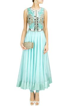 Ice blue two-layered mirror work anarkali set BY ARPITA MEHTA.