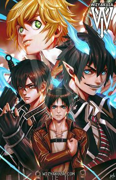 Shingeki No Kyojin - Nanatsu No Taizai - Ao no Exorcist - Sword Art Online Anime Girl Hot, Anime Love, Anime Guys, Otaku Anime, Anime Manga, Anime Art, Anime Crossover, Wizyakuza Anime, Seven Deadly Sins Anime
