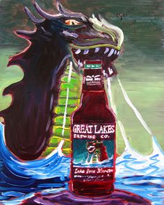 Beer Painting of Lake Erie Monster IPA by Great Lakes Brewing Company in Cleveland, Ohio. Year of Beer Paintings - Day 183.