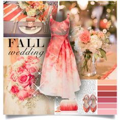 Fall Wedding Coral dress elegant outfit Polyvore set