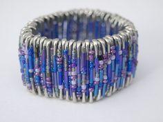 purple beaded safety pin bracelet by allanamphotography on Etsy