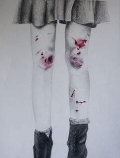 drawing art My art Grunge bruises cuts pastels artist on tumblr pencil drawing
