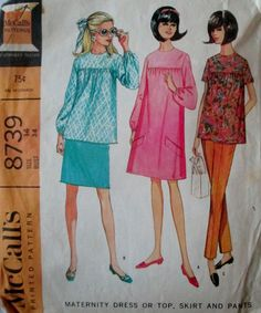 McCalls 8739 Women's 60s Maternity Dress or Top, Skirt and Pants Sewing Pattern Bust 34