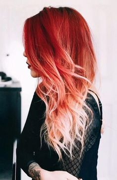 Red To White Ombre Hair