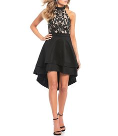 a26dd7c950 Jodi Kristopher Halter-Neck Embroidered High-Low Dress. Dillards Homecoming  ...